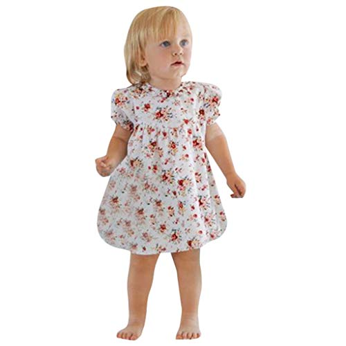 23b2a52c5d54f Mitlfuny Bebé Princesa Vestido de Fiesta Manga Corta Algodón Flores  Vestidos Recién Nacido Niñas Estampado Collar