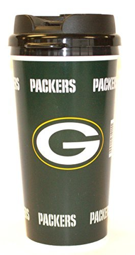 NFL Officially Licensed Green Bay Packers 14 Oz Insulated Coffee Travel Tumbler Mug Cup by Whirley Industries