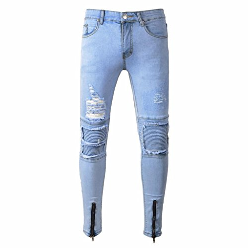Herren Hose Xinan Mens Ripped Slim Fit Motorrad Vintage Denim Jeans HipHop Streetwear Men Sportswear Fitness Hosen Lange Sport Hosen Gym Slim Fit Hose Running Jogger Gymnastik Hose (34, Blau) (Cargo Schwimmen)