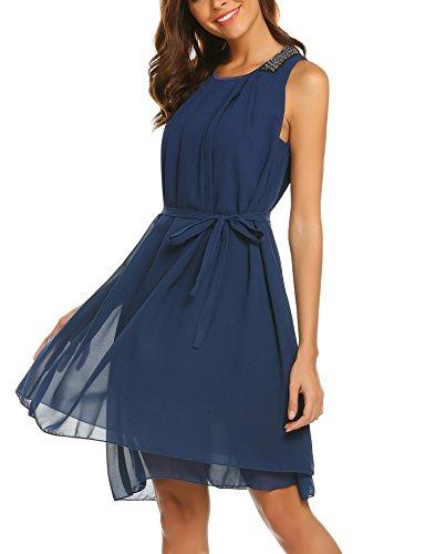 Beyove Damen Chiffon Kleid Sommerkleid mit Plissee-Falten Spitzenkleid Cocktailkleid Brautjungfernkleid Ärmellos (EU 40(Herstellergröße: L), Dunkelblau-3)