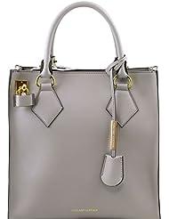 Tuscany Leather - Fortuna - Sac à main vertical en cuir Ruga - Gris clair