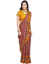 e915cf3c372f1c EthnicJunction Women's Printed Saree In Manipuri Silk Fabric (EJ1700-1001)  Maroon, Yellow