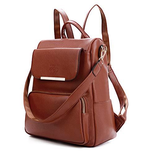 Coofit zaino donna, zaino donna scuola casual borse a spalla multifunzione furto zainetto universita moda de zaino (marrone)