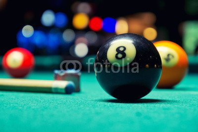 druck-shop24 Wunschmotiv: Billiard balls in pool hall #86991566 - Bild als Foto-Poster - 3:2-60 x 40 cm/40 x 60 - Bilder Pool Hall