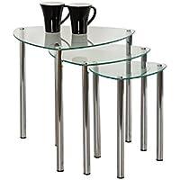 Aspect Arena Nesting Tables/Final Lado Table-Clear Cristal, Patas de Cromo, Vidrio, Claro, Set de 3