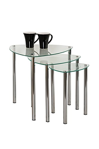 Aspecto Arena Nesting Tables/Final Lado Table-Clear Cristal, Patas de Cromo, Vidrio, Claro, Set de 3