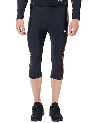 Ultrasport Herren Laufhose, 3/4 lange Fitnesshose für Männer, mit Kompressionswirkung und Quick-Dry, für alle Sportarten geeignet, Schwarz (Black/Neon Orange), XX-Large