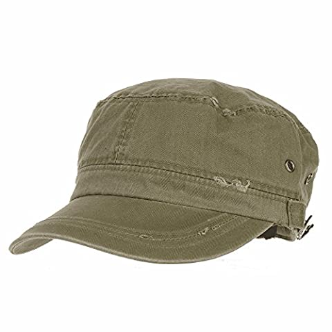 WITHMOONS Militaire Casquette de Baseball Cadet Cap Cotton Vintage Distressed Washed Hat CR4267 (Green)