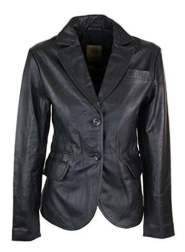 Giacca aderente da donna e ragazza stile blazer vintage in vera pelle nera nero 10/m