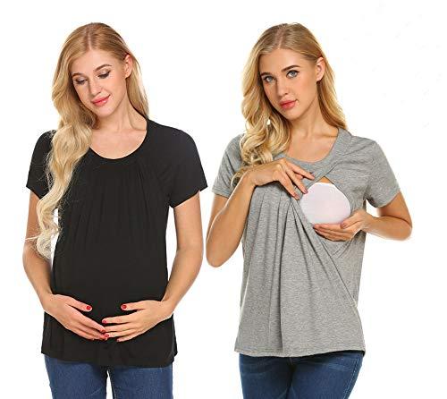 4d2115770f78 UNibelle Donna Maglia Premaman Allattamento Maglieria per maternità Shirt  Corta Maglietta Casual Top Manica Corta Nero