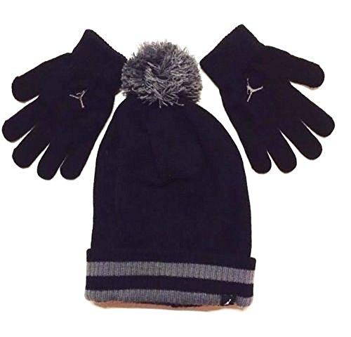 Nike Jordan Jungen Winter Cuffed Beanie und Handschuhe Set Größe: 8/20-black (Jordan Handschuhe)