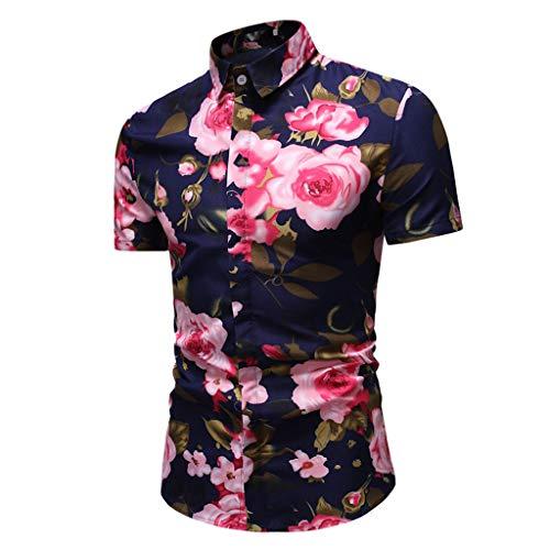 Casual Causal Verano Para Tops Playa Vacaciones En Manga Corta Hawaianas Camisa Florar Hombres Ajuste Camisas Ag Algodón amp;t Hawaiana xrodeCB