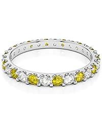 18KT oro blanco 0,42Ct certificado g-H/VS corte redondo amarillo Sapphire y Diamond Full Eternity anillo agdr-1104