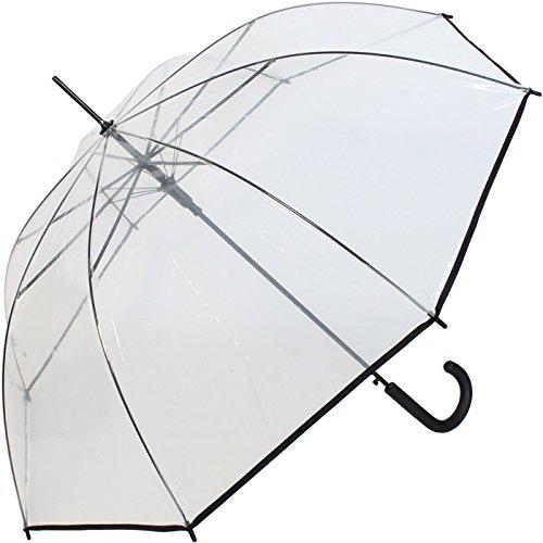 Regenschirm durchsichtig transparent mit Einfassband Griff schwarz