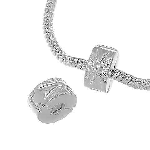 Rubyca Blanc Stopper en plaqué argent Fermoir Perles Charm pour bracelet Chaîne serpent européen, Cuivre, Modèle 1, 20 PCS