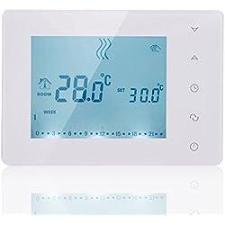 beok bot-x306termostato programable pantalla táctil de botones inalámbrico con receptor, Smart controlador de temperatura ambiente para Gas caldera sistema de calefacción, de pie y de colgar en la pared, color blanco