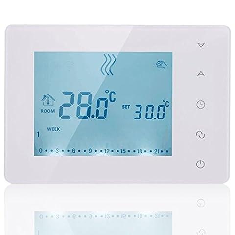 Beok Bot-x306LCD tactile Boutons Thermostat programmable sans fil avec récepteur, une salle de Smart contrôleur de température pour système de chauffage chaudière à gaz, debout et décoration murale à suspendre, Blanc