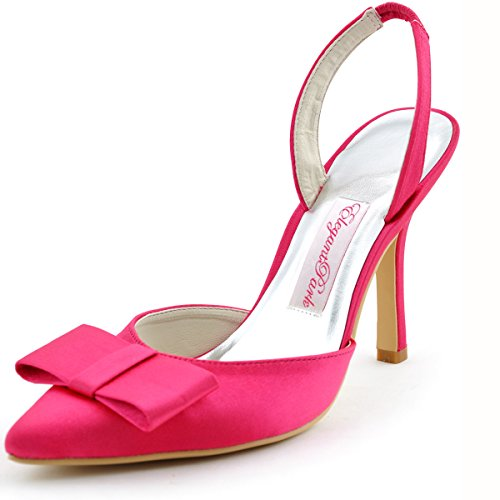 Elegantpark HC1404 bout pointu arc bride arri¨¨re Escarpins Femmes sandale Satin Chaussures de mari¨¦e Hot Rosa