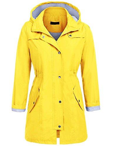 Damen Parka Regenjacke Windbreaker Übergangsjacke Funktionsjacke Regenmantel mit Kapuze Casual Jacke Outwear, A Gelb, Gr. M