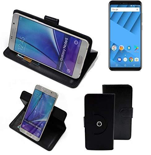 K-S-Trade® Case Schutz Hülle Für -Vernee M6- Handyhülle Flipcase Smartphone Cover Handy Schutz Tasche Bookstyle Walletcase Schwarz (1x)
