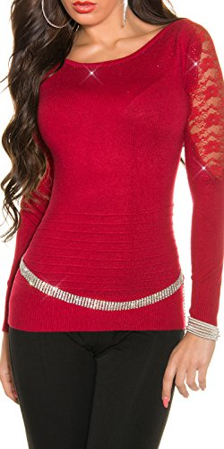 In-Stylefashion - Pull - Femme rouge Rot taille unique Rouge