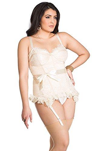 Coquette Damen Bustier Diva Plus Size Vollbeinsatin - Elfenbein - 3X/4X