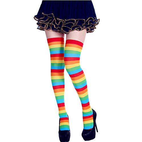 Drreny Bunte Gestreifte Socken Der Festlichen Partei Halloween-Weihnachtskniesocken Bunt