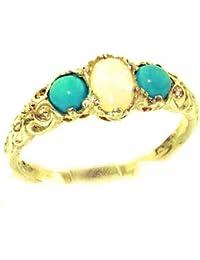 Englisch Damen-Ring solide 9 Karat Gold Gelbgold Opal & Türkis -- Verfügbare Größen : 50 bis 64