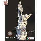 Statua di San Michele Arcangelo con spada. Riproduzione di A.Santini in polvere di marmo e resina bianchi, altezza cm.31. Raffinata idea regalo. Prodotto Isac statue made italy Cecina Toscana.