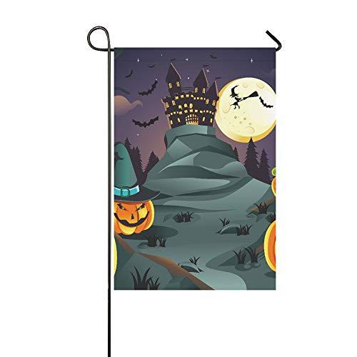 Dekorative Outdoor-Flagge, doppelseitig, ein Vektor Illustration von Halloween-Hintergrund mit Garten-Flagge, Garten-Hof-Dekorationen, saisonale Willkommen-Outdoor-Flagge, 30,5 x 45,7 cm, Frühlings-Sommer-Geschenk