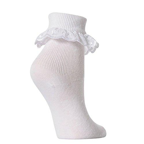 Extraweiche Rüschensocken für Mädchen (3 Paar) (31-35.5 (8-12 Jahre)) (Weiß)