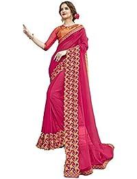5762f4da62 Triveni Sarees Women's Georgette Artsilk Festival Wear Embroidered  Traditional Saree with Blouse Piece, Free Size