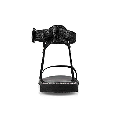 COOLCEPT Femme Mode Sangle de Cheville Sandales Bout Ouvert Plat Slingback Chaussures Noir
