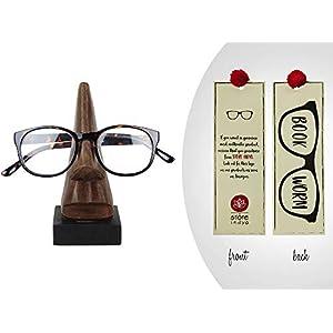 storeindya Holz Brillenständer Nase Brillenhalter, Wooden Spectacle Holder Schreibtisch Nasenförmige Kinderbrille Handgefertigtes Brillen ständer optisches Zubehör für Wohnkultur und Schenken