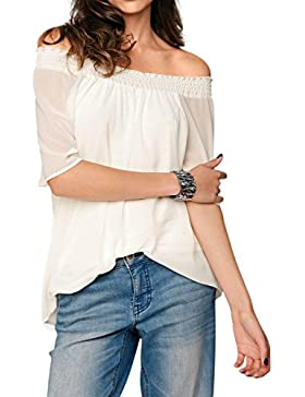 Las Mujeres Verano Hombro Gasa Tunica Blusa Camisa Top Solid Suelto