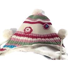 Pom Pom–Gorro estilo peruano, color rosa, blanco, rosa, verde oscuro, de rayas