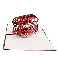 Faliya 3D London Red Double-deck Bus Paper Card Laser Cut Pop Up Card Creative Tourism Souvenir