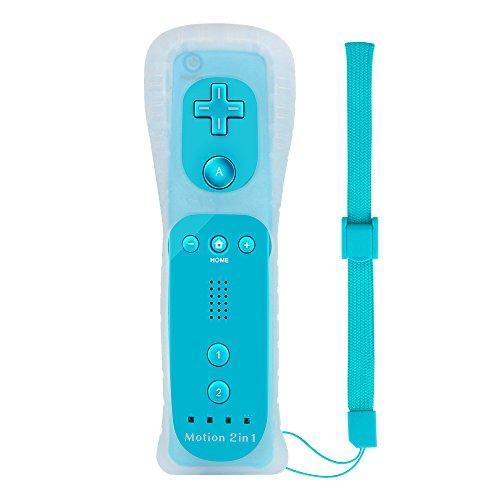 Wetoph 2 in 1 Wii Motion Plus Remote Controller NK15 Eingebaut in Motion Plus mit kostenlosem Silikonhülle und Handschlaufe für Nintendo Wii und Wii U- Grellblau