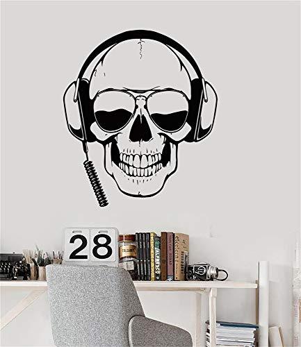wandaufkleber graffiti Vinyl Wand Erklärung Familie DIY Dekor Kunst Aufkleber Home Decor Wand Kunst Schädel mit Kopfhörer und Virtual Reality Brille Realität Gamer Sonnenbrille Jungen Zimmer