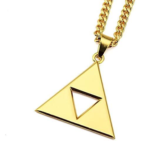 Nyuk Hollow Triángulo 18K chapado en oro para hombre hip-hop colgante cadena collar