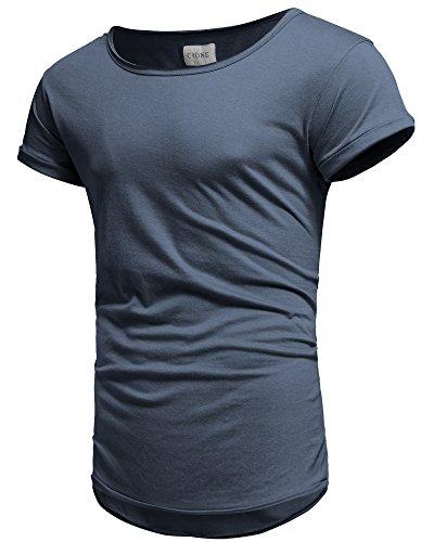 Crone Herren Kurzarm Rundhals Basic Oversize Slim Fit T-Shirt in vielen Farben Navy Blue