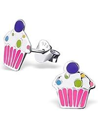 Jewellerybyz Argent sterling 925hypoallergénique Cupcake Clous d'oreille pour les filles (Nickel gratuit et sans danger pour les oreilles)