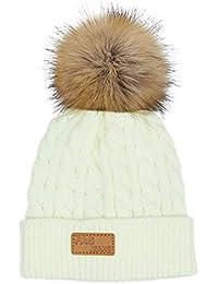 Enfants Bonnet d hiver Cap Épais Stretchy Tricot Chapeau Slouch Chapeau en  Tricot Chaud avec 7fdc764b3dc