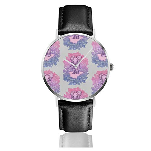 Business Analog Watches,Cute Baby Elephant - Pink, Purple, Blue On Grey Classic Stainless Steel Quartz Waterproof Wrist Watch with Leather Strap