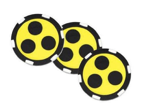 Golf Ballmarker BLIND, 3-er-Set Ballmarker im Design eines Roulette Chips