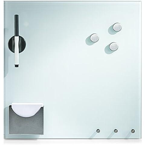 Zeller 11670 - Pizarra magnética con ganchos e imanes (cristal), color blanco