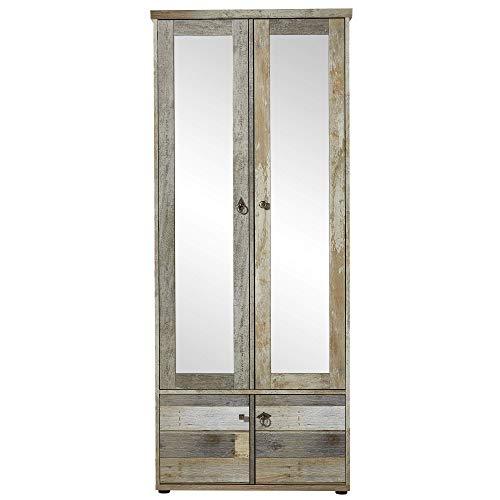 Bonanza Vintage Garderobenschrank in Driftwood Optik - Retro Flurgarderoben Schrank mit zwei Spiegeltüren - 78 x 188 x 40 cm (B/H/T)
