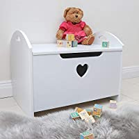 Wido WHITE CHILDRENS TOY BOX HEART DECORATION WITH SEAT OTTOMAN STORAGE BENCH KIDS PLAY ROOM FURNITURE NURSERY WOODEN