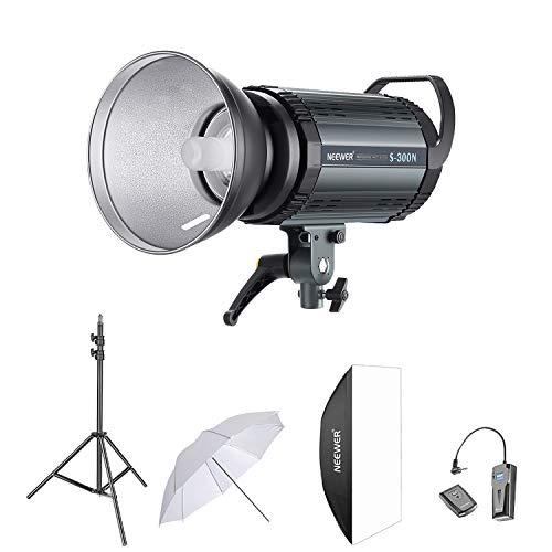 Neewer 300W Studio Strobe Blitz Fotografie Studioset: (1)S-300W Monolicht, (1)Lampeschatten, (1)Softbox, (1)84cm Studioschirm, (1)RT-16 Drahtloser Auslöser,(1)Lichtstand für Aufnahme Bowens Montage Strobe Set