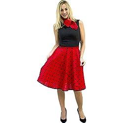 Aec–cu012494–Falda Rock 'n Roll (con pañuelo Rojo a Lunares noirs3T en 1